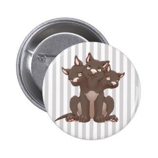 Cute cerberus puppy pinback buttons