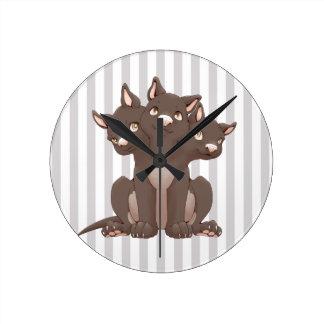 Cute cerberus puppy round wall clocks