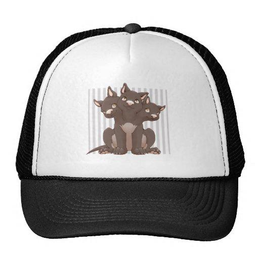 Cute cerberus puppy mesh hat