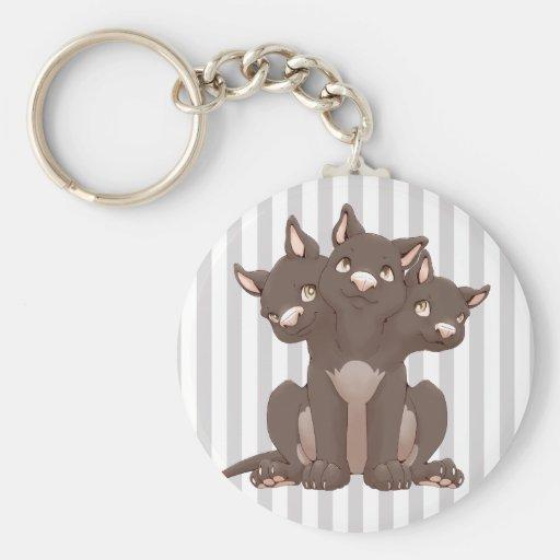 Cute cerberus puppy key chain