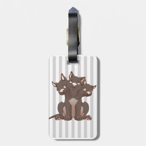 Cute cerberus puppy travel bag tags
