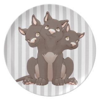 Cute cerberus puppy party plate