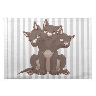 Cute cerberus puppy place mat