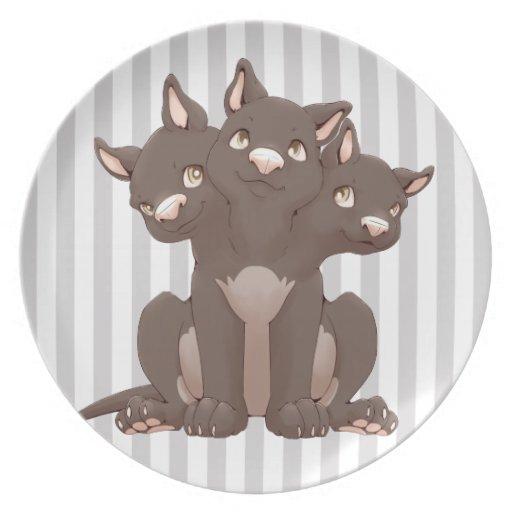 Cute cerberus puppy plate