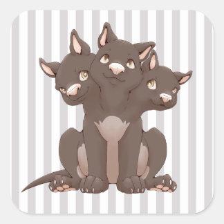 Cute cerberus puppy square sticker