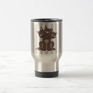 Cute cerberus puppy stainless steel travel mug
