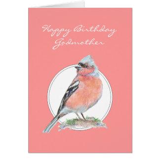 Cute Chaffinch, Happy Birthday Godmother Card