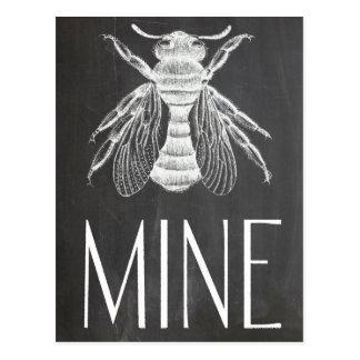 cute chalkboard drawing bee mine valentine romance postcard