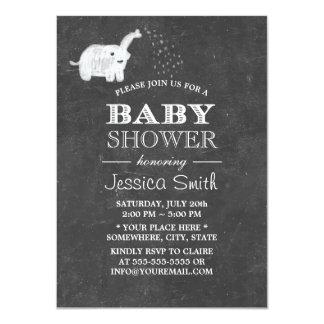 Cute Chalkboard Elephant Baby Shower 11 Cm X 16 Cm Invitation Card