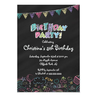 Cute  Chalkboard Girls Birthday Party Invitation