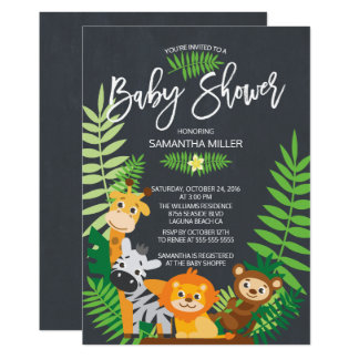 Cute Chalkboard Jungle Safari Baby Shower 13 Cm X 18 Cm Invitation Card