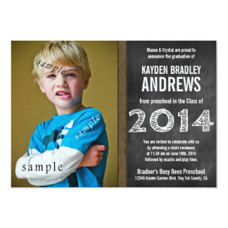Cute Chalkboard Preschool 2014 Graduation Photo 13 Cm X 18 Cm Invitation Card