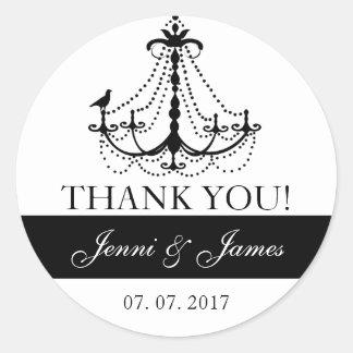 Cute Chandelier Wedding Favor Thank You Round Sticker
