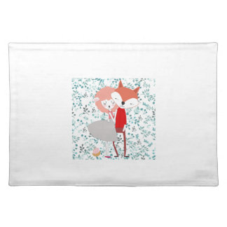 Cute character animal fox wolf man and sheep lamp placemat