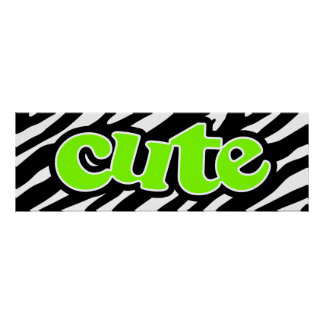 Cute Chartreuse Neon Green Zebra Stripes Poster