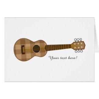 Cute Checkered Brown Guitar Graphic Card