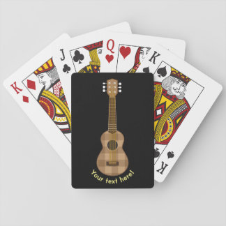 Cute Checkered Brown Guitar Graphic Playing Cards