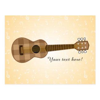 Cute Checkered Brown Guitar Graphic Postcard