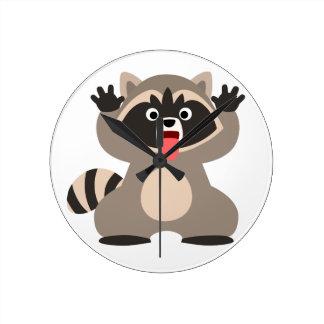 Cute Cheeky Cartoon Raccoon Round Clock