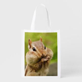 Cute Cheeky Chipmunk Reusable Grocery Bag