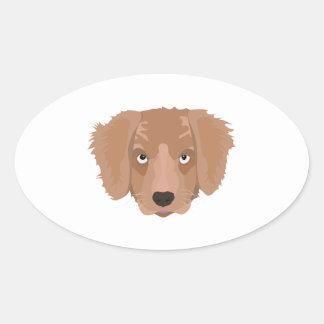 Cute cheeky Puppy Oval Sticker
