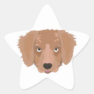 Cute cheeky Puppy Star Sticker