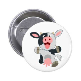 Cute Cheerful Cartoon Cow 6 Cm Round Badge