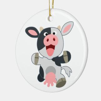 Cute Cheerful Cartoon Cow Round Ceramic Decoration