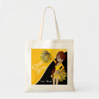 Cute Cheerleader Girl in Yellow Tote Bag