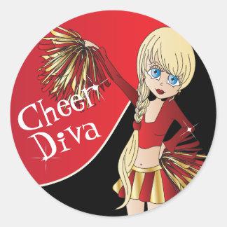 Cute Cheerleader Pom Pom Girls   Red Classic Round Sticker