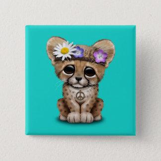 Cute Cheetah Cub Hippie 15 Cm Square Badge