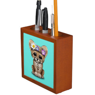 Cute Cheetah Cub Hippie Desk Organiser