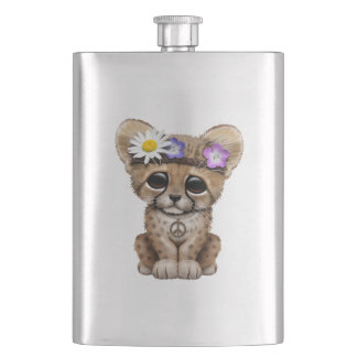 Cute Cheetah Cub Hippie Hip Flask