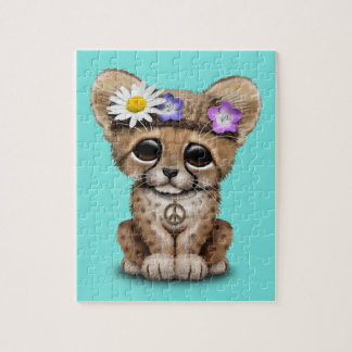 Cute Cheetah Cub Hippie Jigsaw Puzzle