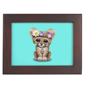 Cute Cheetah Cub Hippie Keepsake Box