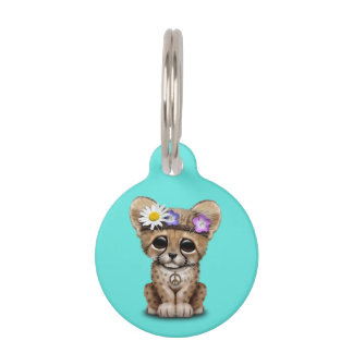 Cute Cheetah Cub Hippie Pet Tag