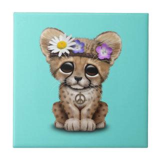 Cute Cheetah Cub Hippie Small Square Tile
