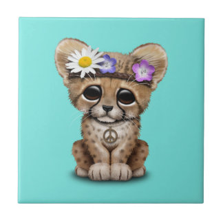 Cute Cheetah Cub Hippie Tile