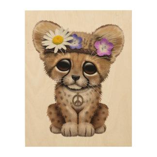 Cute Cheetah Cub Hippie Wood Wall Art