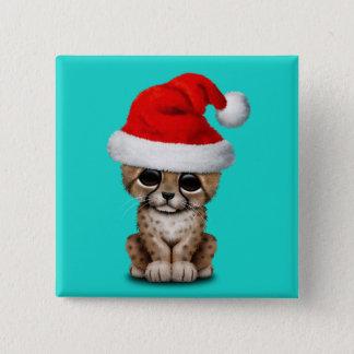 Cute Cheetah Cub Wearing a Santa Hat 15 Cm Square Badge