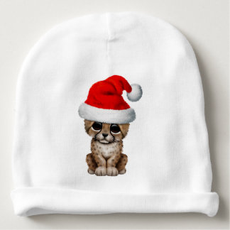 Cute Cheetah Cub Wearing a Santa Hat Baby Beanie