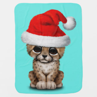 Cute Cheetah Cub Wearing a Santa Hat Baby Blanket