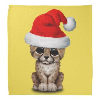 Cute Cheetah Cub Wearing a Santa Hat Bandana