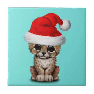 Cute Cheetah Cub Wearing a Santa Hat Ceramic Tile