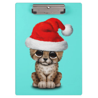 Cute Cheetah Cub Wearing a Santa Hat Clipboard
