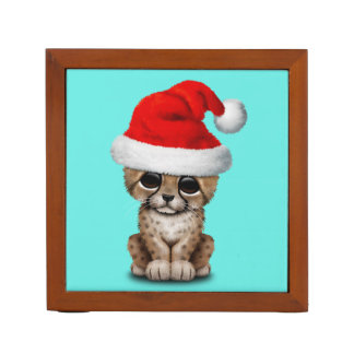 Cute Cheetah Cub Wearing a Santa Hat Desk Organiser