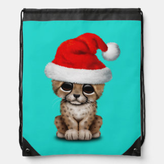 Cute Cheetah Cub Wearing a Santa Hat Drawstring Bag