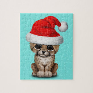 Cute Cheetah Cub Wearing a Santa Hat Jigsaw Puzzle