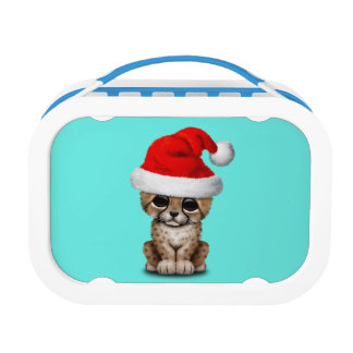 Cute Cheetah Cub Wearing a Santa Hat Lunch Box