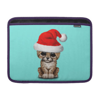 Cute Cheetah Cub Wearing a Santa Hat MacBook Sleeve